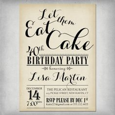 Items similar to Rustic Adult Birthday Party Invitation Any Age! Shabby Chic - Customizable on Etsy Adult Birthday Party, 40th Birthday, Birthday Ideas, Invitation Ideas, Let Them Eat Cake, Birthday Invitations, Rsvp, Party Ideas, Age