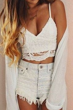White Lace Spaghetti Straps Crop Top & High Waisted Shorts w/ Cardigan
