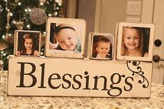 Photo Blocks made with wood, paint and a Vinyl letter cutter! LOVE! Great DIY gift for Grandparents!
