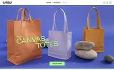BAGGU, on siteInspire: a showcase of the best web design inspiration. Best Web Design, Ui Design, Web Design Inspiration, Packaging Design Inspiration, Beth Ditto, Ui Web, Shop Now, Tote Bag, Canvas