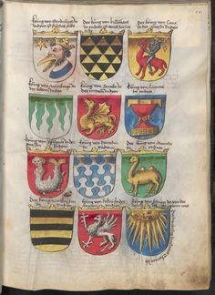 Duck-man heraldry device -  Grünenberg, Konrad: Das Wappenbuch Conrads von Grünenberg, Ritters und Bürgers zu Constanz - BSB Cgm 145, [S.l.], um 1480 [BSB-Hss Cgm 145]