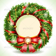 Wreath Christmas with Red Ribbon  #GraphicRiver         Detailed illustration of a Wreath Christmas with Red Ribbon with Copyspace This illustration is saved in EPS10 with color space in RGB. Where possible, the objects have been grouped to make it easily editable or hidden.     Created: 17October13 GraphicsFilesIncluded: JPGImage #VectorEPS #AIIllustrator Layered: Yes MinimumAdobeCSVersion: CS Tags: background #ball #beautiful #border #bow #celebration #christmas #color #copyspace…