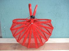 フランスヴィンテージ折りたたみパニエ赤かごアンティーク Antique pannier basket ¥14500yen 〆04月22日
