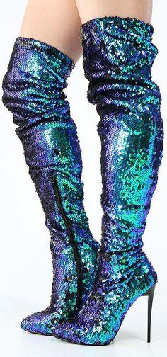 Iridescent mermaid sequin boots
