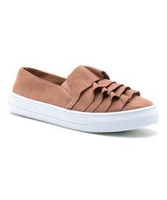 $14.99 marked down from $26! Dark Blush Ruffle Reba Sneaker #slipons #sneakers #zulilyfinds