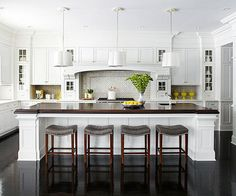 classic beautiful white kitchen with wood countertops + dark wood floors