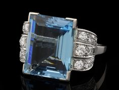 Aquamarine and Diamond Engagement Ring from Jewellers Dublin from Art Deco Period in platinum
