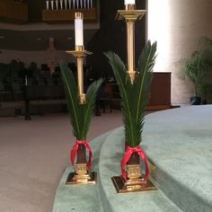 For steps on Palm Sunday. . . .use tall wooden candle stands. . . .more fern fronds. . . . . change red ribbon to leather cord or jute roping.