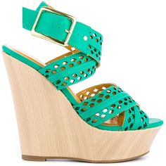 Shoe Republic Women's Clare - Aqua ($51) ❤ liked on Polyvore featuring shoes, sandals, heels, wedges, green, wedges shoes, wooden platform sandals, ankle strap sandals, heeled sandals and wedge sandals