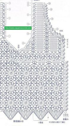 Crochet Diagram, Crochet Chart, Thread Crochet, Crochet Motif, Crochet Stitches, Free Crochet, Crochet Patterns, Crochet Cardigan Pattern, Crochet Blouse