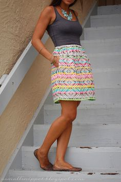 Elastic Waist Skirt | I'ma make this, except a maxi skirt with prairie ruffles on the bottom and a lower waist. Booyeah.