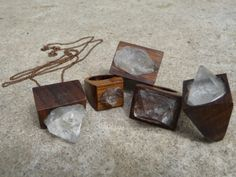 crystals and wood jewelry