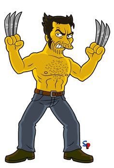 Wolverine (movie Hugh Jackman version) Some more movie Wolverine, and this time more raw. Simpsons Drawings, Simpsons Art, Wolverine Movie, Logan Wolverine, Comic Movies, Comic Books Art, Marvel Dc, Simpsons Characters, Rick Y Morty
