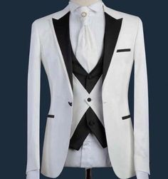 Males Go well with Formal Skinny Wedding ceremony Blazer Promenade Light Groom Customized Jacket three Items Wedding Dress Men, Wedding Suits, Cool Outfits For Men, Moda Formal, Designer Suits For Men, Tuxedo For Men, White Tuxedo, Formal Suits, African Men Fashion
