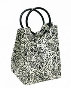 Fit & Fresh Designer Lunch Bag, Black & White Damask