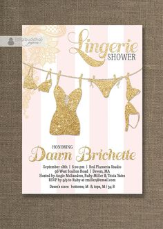 Pink & Gold Lingerie Shower Invitation Gold by digibuddhaPaperie, $20.00
