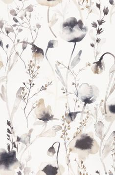 Soft and pastoral, this lovely wallpaper is the perfect mix of transitional style in a watercolor floral pattern. Featuring light-reflecting vibrancy, the ethereal pattern works great in bedrooms and living spaces. Artistic Wallpaper, Modern Wallpaper, Home Wallpaper, Flower Wallpaper, Pattern Wallpaper, Wallpaper Backgrounds, Hallway Wallpaper, Brown Wallpaper, Floral Print Wallpaper