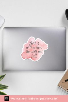 """Stir up your faith with this """"God is within her she will not fall"""" sticker! With this quality vinyl sticker you can decorate your laptop, planner, journal and more! Keep Christ at the center of your life and support a great cause! A portion of each sale is donated to women trafficking survivors! Plus, Elevation Boutique has Free Domestic Shipping! Don't wait! Order your God is within her she will not fall sticker now! #godiswithinhershewillnotfallsticker #psalm465 Bible Quotes For Women, Girls Bible, Woman Quotes, Life Quotes, Christian Decor, Christian Women, Christian Gifts, Christian Quotes, Pastor Appreciation Day"""