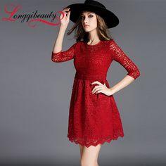 Aristocratic Style Women Dress 2016 Spring New Design Women's Hook Flower Hollow Out Lace Dress Longqibeauty Women's Clothes
