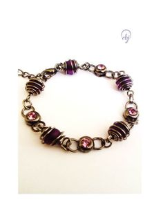 Wire Wrap Purple Bead And Purple Crystal Bracelet - Upcycle Jewellery, British (UK) Jewellery Design - £23.00
