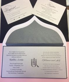 Armenian and English Wedding Invitation with Armenian Fonts and monogram in silver and black ~ Lori & Armen by www.hyegraph.com