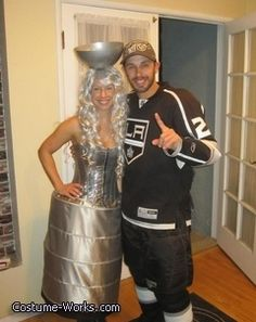 LA Kings player with Stanley Cup - Halloween costume idea for couples