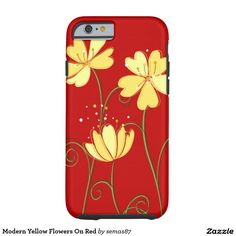 Modern Yellow Flowers On Red Tough iPhone 6 Case