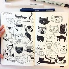 This spread of cats by @hee_cookingdiary for my #cbdrawaday 31 Day Drawing Challenge with @creativebug is one of my favorites! // overwhelmed by the amazing stuff coming out of this class!! // not to late to start the class (it lives on in perpetuity) // sign up at @creativebug by lisacongdon