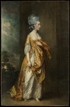 Mrs. Grace Dalrymple Elliott (1754?–1823), 1778, Thomas Gainsborough  (English, Sudbury 1727–1788 London). This full-length of the statuesque Mrs. Elliott—a Scottish lady of great beauty but easy virtue—was apparently commissioned by her lover, the first marquis of Cholmondeley, and was exhibited at the R.A. in 1778. Its elegance, delicate coloring, and fluid handling reflect the influence of Van Dyck. (c) Metropolitan Museum of Art