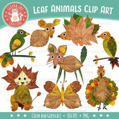 Leaf Clip Art {Fall / Autumn Animal Clipart} by Clever Cat Creations Autumn Leaves Craft, Autumn Crafts, Autumn Art, Nature Crafts, Spring Crafts, Autumn Animals, Leaf Animals, Crafts For Teens To Make, Art For Kids