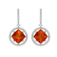 Blazing Fire Opal and Diamond Earrings