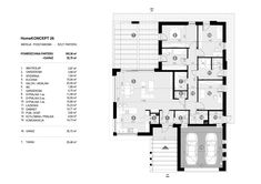 Rzut CPT HomeKONCEPT-26 CE Facade House, Modern House Design, Building A House, House Plans, New Homes, Floor Plans, How To Plan, House Styles, Plot Ideas