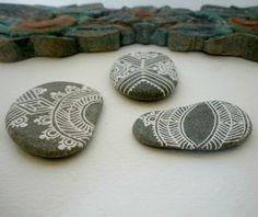 chevron painted pebble set of 3