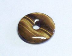 Tiger Eye Stone Donut Focal or Pendant Bead 40 by BeadsFromHaven, $2.50