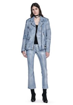 ALEXANDER WANG CLASSIC DENIM LEATHER BIKER JACKET  JACKETS AND OUTERWEAR  Adult 12_n_f