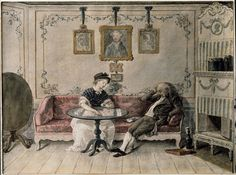 Watercolor from 1790 by Carl Wilhelm Svedman depicting a typical Swedish bourgeois interior.