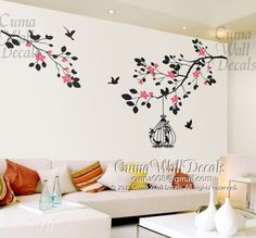 branch  wall decals vinyl tree wall decal sticker birds wall art home decor Nursery decals baby- branch cherry blossom  birdcage birds Z110. $58.00, via Etsy.