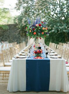 Blue Red and Gold Reception Decor | photography by http://bretcole.com | floral design by http://www.willowfloraldesign.com/ | wedding planning by http://www.mapevents.com/