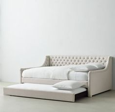RH TEEN's Devyn Tufted Daybed With Trundle:Generous tufting on the back and sides of our platform-style daybed offers all the comfort of a sofa, making this an ideal spot for lounging, reading or indulging in some quiet time. Office Sofa, Home Office, Full Daybed With Trundle, Restoration Hardware Bedroom, Home Suites, Attic House, Big Girl Rooms, Trendy Home, Girls Bedroom