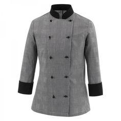 Celine Woman Chaqueta de mujer. 65% polyester - 35% algodón. Príncipe de Galles. Cuello y puños en negro. Slim Fit. 10 botones. www.chefaporter.com