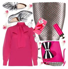 """""""Necktie Blouse for Fall"""" by petalp ❤ liked on Polyvore featuring Loeffler Randall, Miu Miu, Betsey Johnson, Gucci, Kate Spade, Prada, outfit and blouse"""