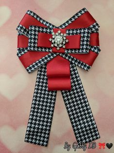 Houndstooth Bow Brooch By Gabby DB