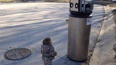 Adorable little girl mistakes broken water heater for a robot : gifs