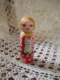 Mixed Media Whimsical Wooden Altered Art Doll Allow by eltsamp, $44.00