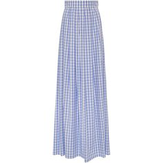 Vivetta Nicole Cotton Gingham Maxi Skirt ($208) ❤ liked on Polyvore featuring skirts, long a line skirt, vivetta, long skirts, blue maxi skirt and a-line skirt