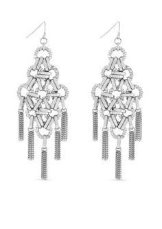 Jessica Simpson  Silver-Tone Basics Chandelier Earrings