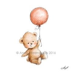 Pencil and watercolor drawing of teddy bear with red balloon. Good for nursery decor, kid's room wall art, children's gift.