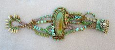 Turquoise and free-form peyote bracelet by Sandra Lee.
