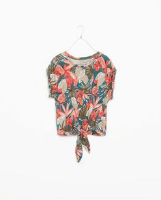 Image 6 of PRINTED T-SHIRT WITH TIE-WAIST from Zara