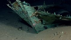 This photo provided by the NOAA Okeanos Explorer Program shows oxidized copper hull sheathing and possible draft marks visible on the bow of a wrecked ship in the Gulf of Mexico about 170 miles from Galveston, Texas. Officials with Texas A University at Galveston and Texas State University say the recovery expedition of the two-masted ship that might be 200-years-old, concluded Wednesday, July 24, 2013. They've been able to recover some items like ceramics and bottles...